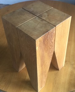 This solid piece is made from an 8 year old air dried oak beam.